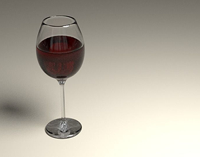 3D model animated Wine glass
