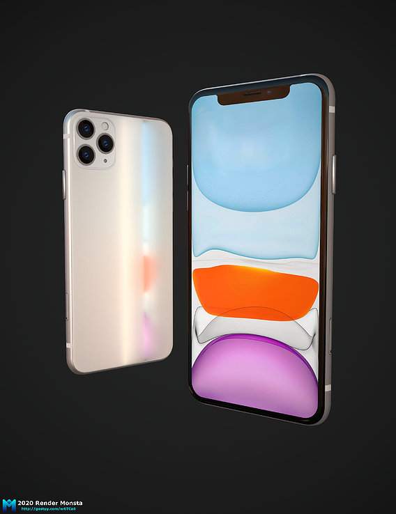 PBR lowpoly iphone 11 pro max Game asset