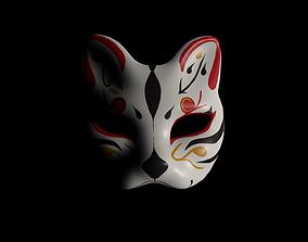 Kitsune Fox mask 3D model rigged