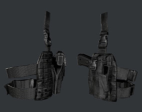 3D model Military Police Gun Holster Game Ready 02
