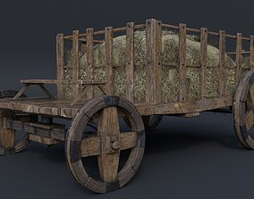 Antique Vintage Rustic Wooden Cart 3D asset