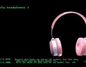 3D model Low poly headphones 1