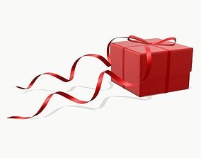 gift box with red bow ribbon 3D model