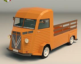 3D model game-ready Low Poly Pickup Van 02