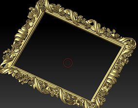 3D model Classic frame of luxurious gold interior inlaid 1