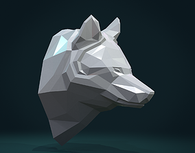 Low poly Wolf head 3D printable model