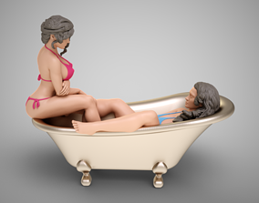 3D printable model Bathing Girls