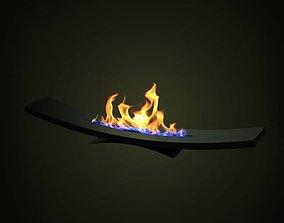 3D Modern Black Fireplace