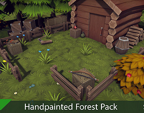 Handpainted Forest Pack v3 3D asset low-poly
