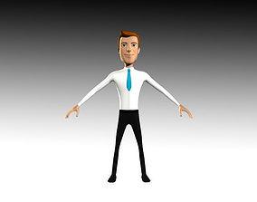 Jhon Cartoon Business Man 3D model rigged