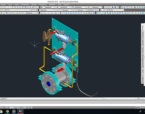 Gas lift spool support and Solenoid valve detail 3D model