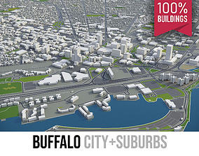 3D asset game-ready Buffalo - City and Suburbs