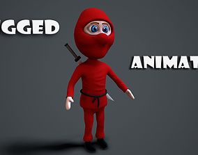 3D asset animated cartoon ninja