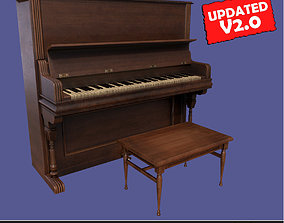 Old victorian wooden upright piano low poly 3D model