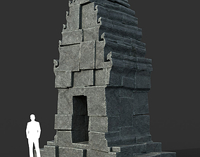 Low poly Black Ruin Asia Temple 02 3D model