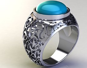 Turquoise Detailed Silver Ring 3D print model