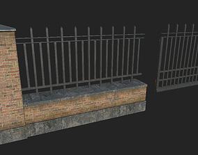 Brick Metal Fence 3D asset