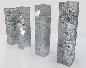 3D asset Damaged Columns 1
