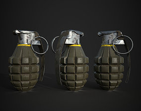 3D asset game-ready Lowpoly Grenade