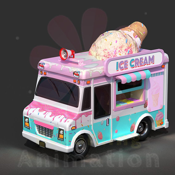 Ice-Cream Truck    Textured    Low-poly Game Ready Model