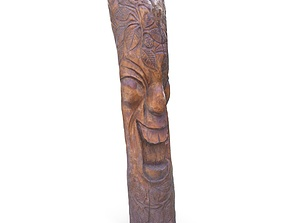 Carved Wooden Totem 01 - Low and High Poly 3D model
