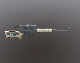Dragunov SVD Low Poly Mobile Game Ready model 3D asset