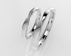 3D printable model Wedding twist rings