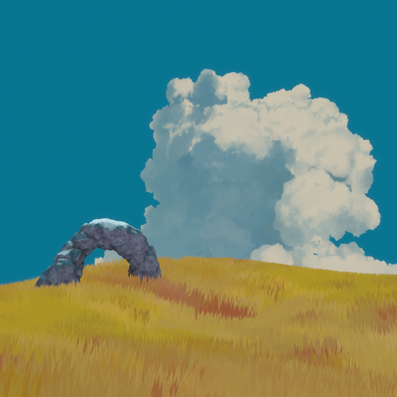Landscape in the style of Studio Ghibli