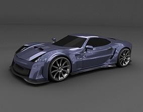 3D model Blue racing concept car