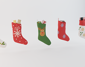 3D Christmas socks with present boxes