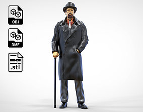 3D print model Man wearing bowler hat and trench coat