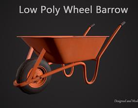 Low Poly Wheel Barrow 3D asset low-poly
