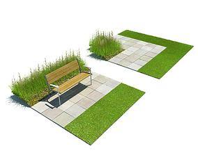 Park Bench On Sidewalk 3D