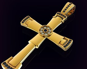 Christian cross encrusted with gems 3D print model