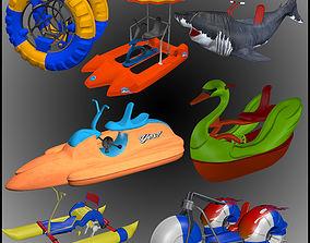 Paddle bike low poly 3D model