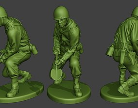 American soldier ww2 Digging A11 3D printable model
