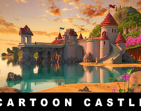 Cartoon Castle Scene 3D model