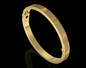 Cartiero Lovee bracelet pave diamond 3D print model