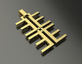 3D printable model Pinwheel Letter E Necklace