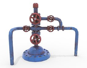 Oil Pumpjack Wellhead Weathered 1 3D asset
