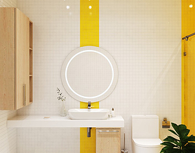Yellow bathroom modern 3D