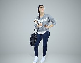 3D model Casual Woman Wearing Grey Sweatshirt