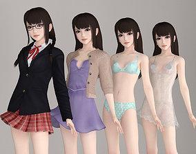 3D model Aoi various outfit pose 01