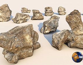 Realistic Rock Collection Pack Lowpoly 3D game-ready