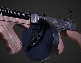 3D asset Thompson 1928 with Guitar Case - Tommy Gun - PBR