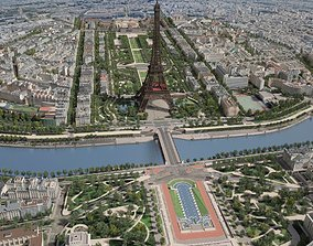 3D model Paris City Eiffel Tower Mars Fields