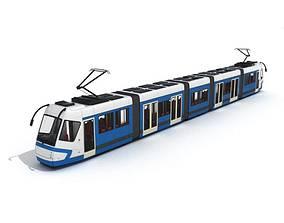 Blue And White Train Car 3D