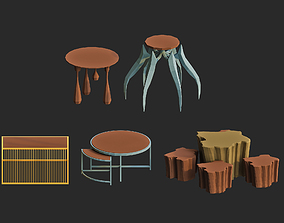 game-ready cartoon side table 3d models pack for game