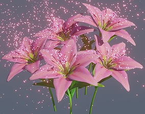 3D Lily flower rigged animated glowing