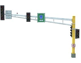 3D model Street Light with Traffic 07